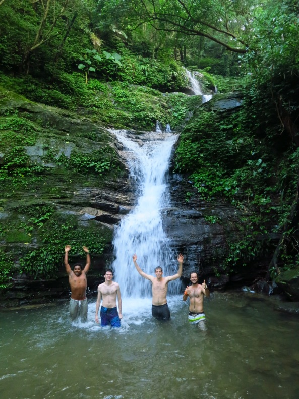 Addis, Tyler, Sean and Grant lost no time in getting in for a splash...