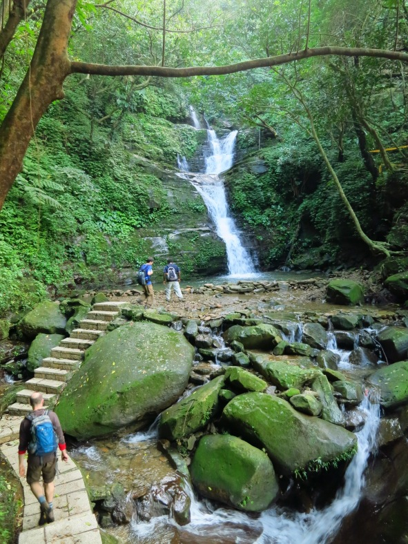Beautiful Jiadong Waterfall marks the end of the hike