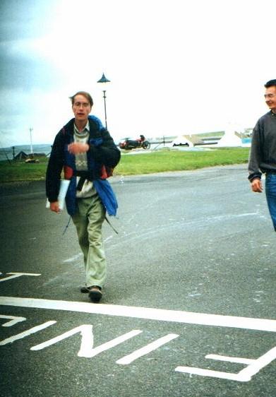 The finish line of the Land's End to John O'Groats walk at John O'Groats pub (day 97)
