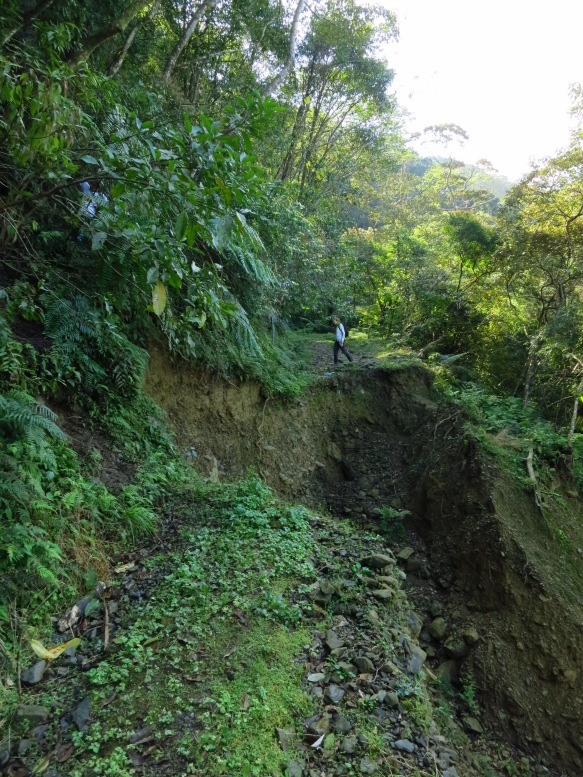 A landslide has wiped out the road near the 11.5 kilometer marker