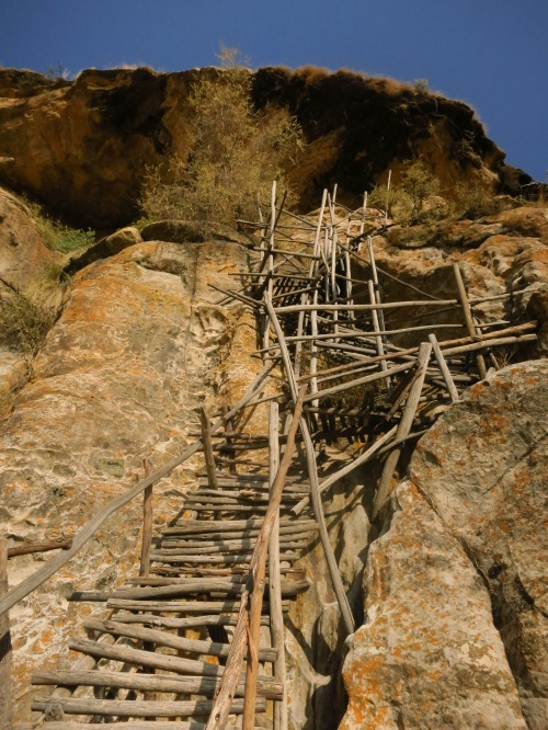 Petros and Paulos church is set halfway up a cliff, and is reached by this nifty ladder contraptionreached