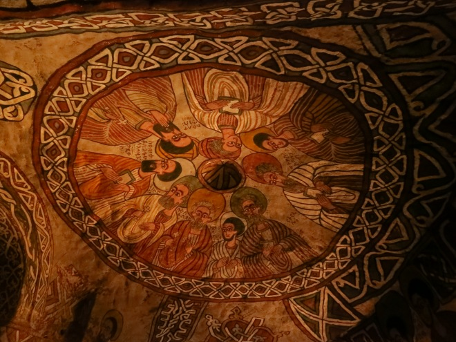 One of the beautiful murals inside the church