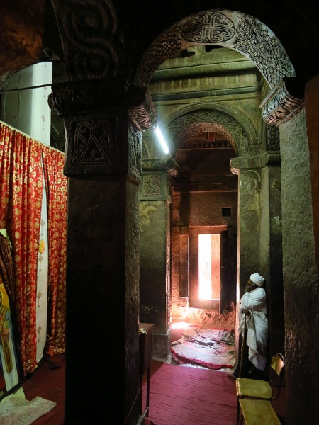 Inside Bet Maryam, carved, like all of Lalibela's churches out of the solid bedrock!!!