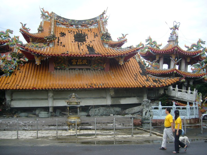 The temple that famously collapsed at Jiji, in Nantou County, during the great earthquake of 1999
