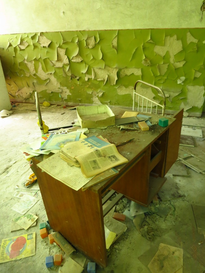 In a kindergarten near Chernobyl, abandoned after the accident