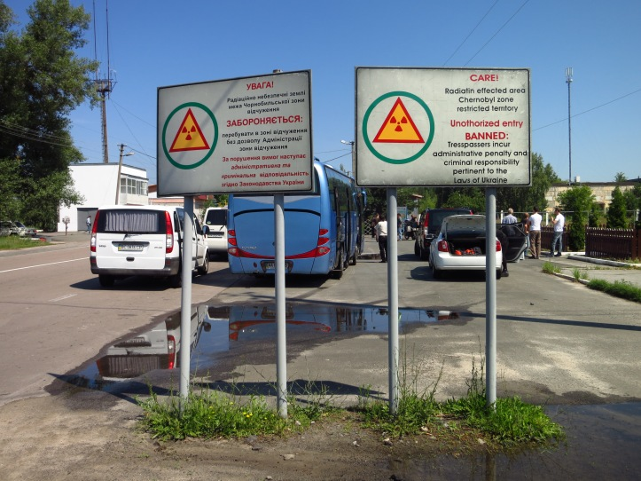 The Thirty Kilometer Exclusion Zone border is marked by the first of two checkpoints