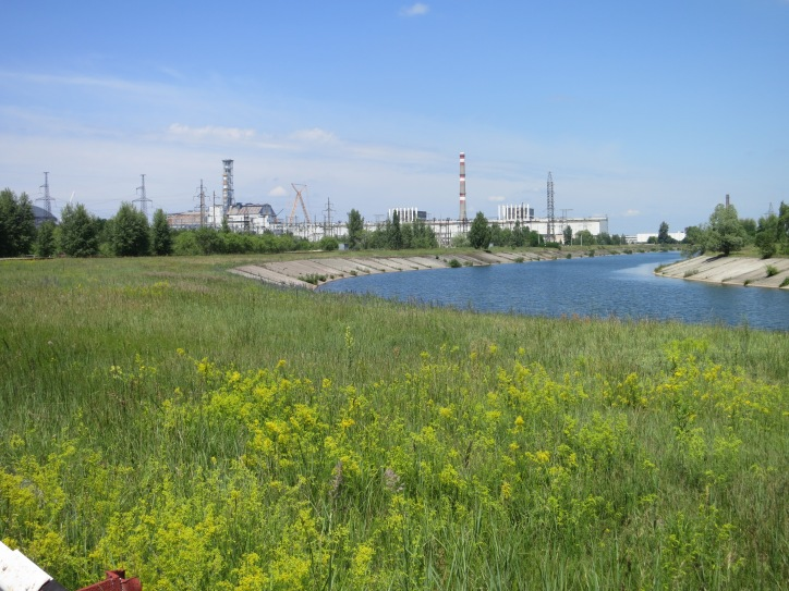General view of Chornobyl Power Plant, with Reactor Four on the left