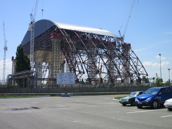 The huge new sarcophagus being constructed to cover the whole reactor