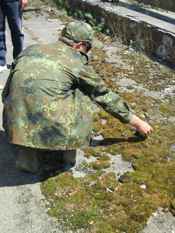 Sergei demonstrates how radioactive the moss is...