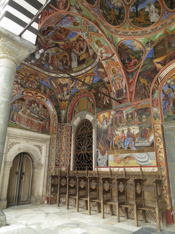 The outside wall of Rila Monastery is completely covered with astonishingly beautiful murals