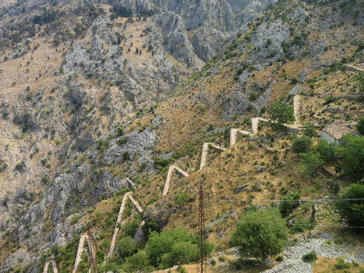 A footpath zigzagging up the craggy mountainside provides a far more interesting (and free) alternative entrance to the castle perched spectacularly on the cliffs above Kotor town
