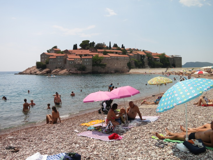 The ultra exclusive Aman Sveti Stefan resort charges a cool US$1,500 and up for a night's accommodation. Ordinary folk can go as far as the little causeway linking to the island, and can even use the beach on the mainland side - for a fifty euro fee!