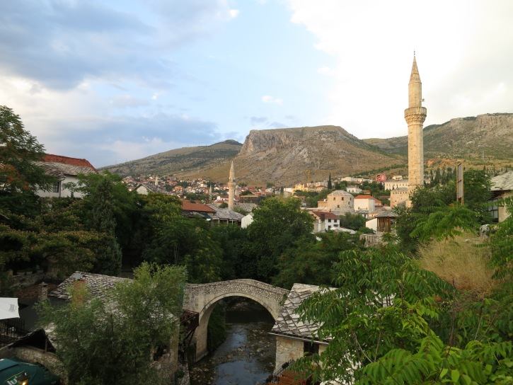 The east bank of Mostar town, with the little Crooked Bridge (a replica of the original, destroyed during the war)