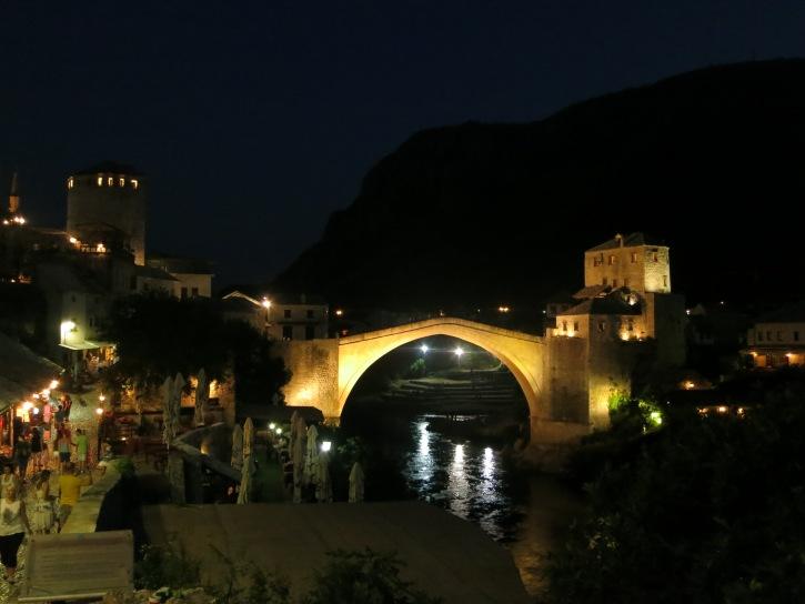 Mostar's beautiful Stari Most at night