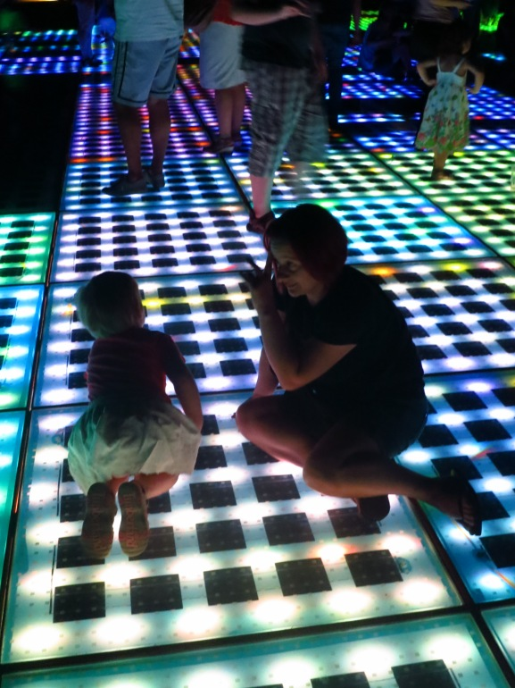 No, it's not a disco dance floor, it's the famous Sun Salutation at Zadar. Like the wind organ, this extraordinary thing is the creation of local artist called Nikola Basic, and gathers the sun's energy during the day to create a bizarre, shimmering carpet of (computer controlled) lights after dark.