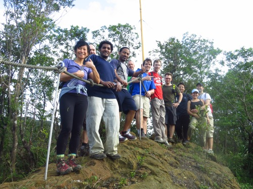 The group on the Flagpole Peak, at the end of the hike