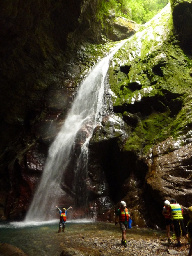 The upper Waterfall in the Golden Grotto