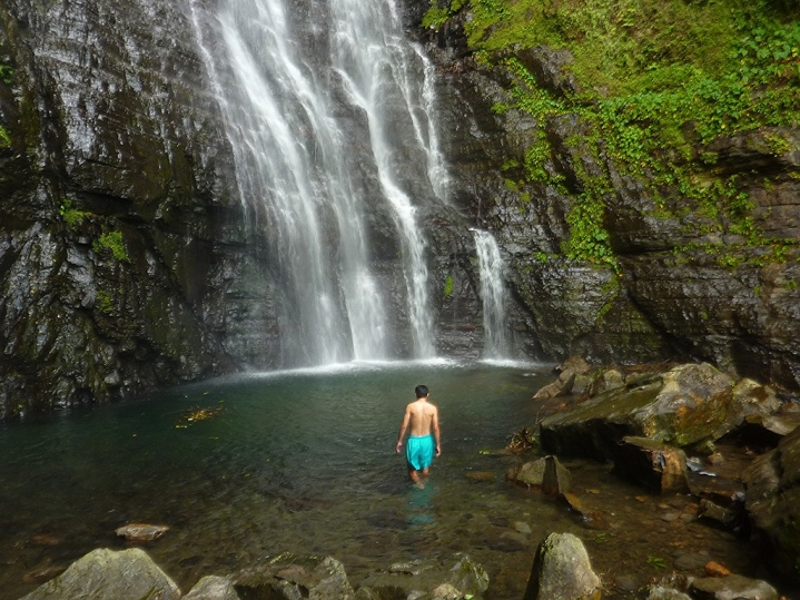 The huge plunge pool below the waterfall is great for a swim in hot weather