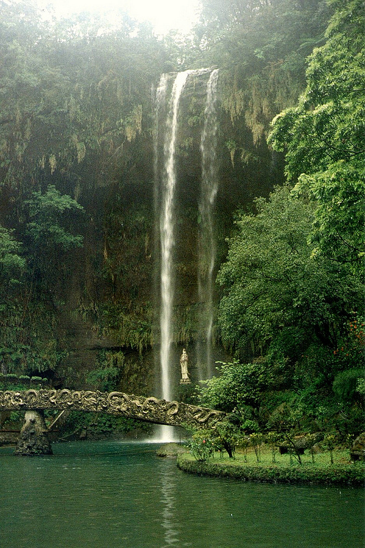 Guanyin Waterfall in nearby Barbarian Valley (print photo taken in the early 1990s)