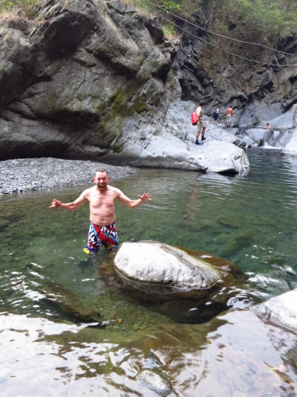 Onno acting the fool near the bottom of the gorge