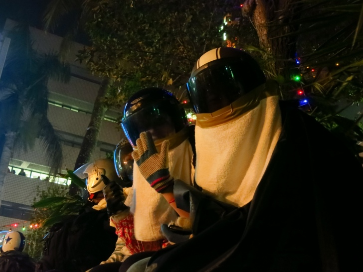 Two of our party at Yanshui 2013, doing their best Daft Punk impression