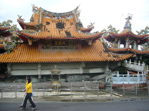 The famous collapsed temple at Jiji, near the epicentre of the quake