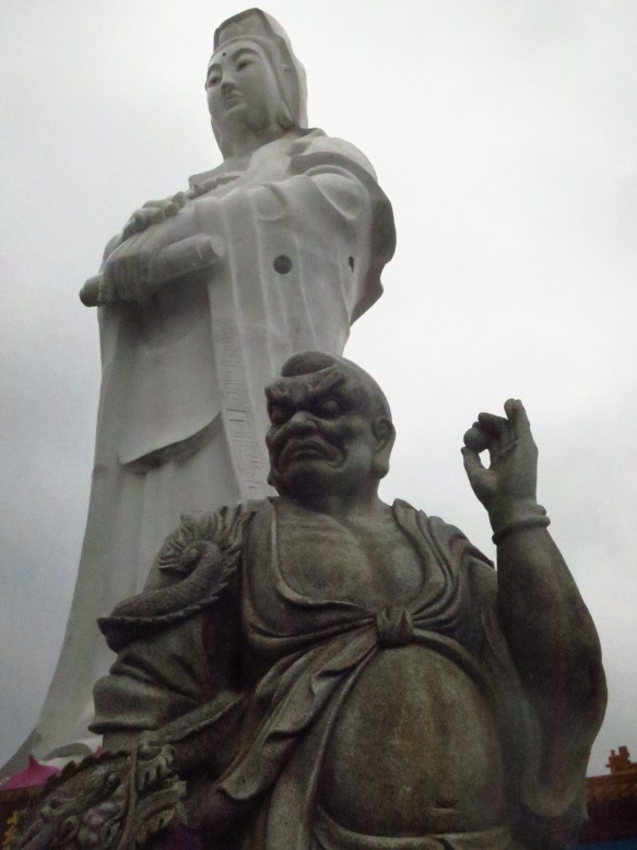 The huge white statue of Guanyin, looking out over Keelung Harbor
