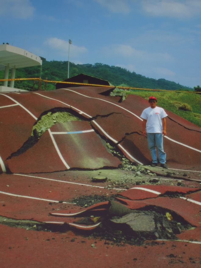 The running track at Guangfu Junior High School shortly after the quake (photo in 921 Earthquake Museum of Taiwan)