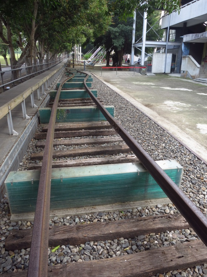 Twisted train tracks (originally on the Jiji Branch Line) at 921 Earthquake Museum of Taiwan