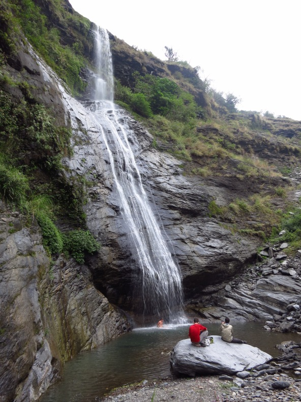 Despite the unseasonably cold weather, at least one of us felt brave enough for a swim at beautiful Meiya Waterfall