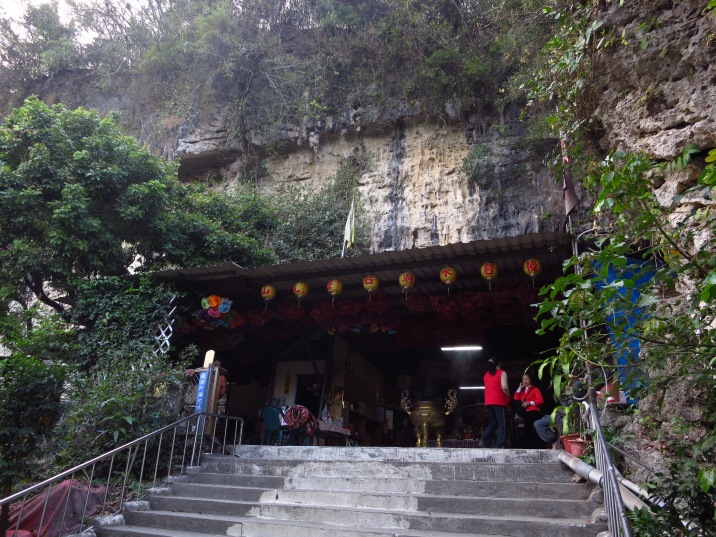 The Stone Breast Temple, named after two rounded stalactites (which appear to be venerated by locals) in the small cave behind the structure