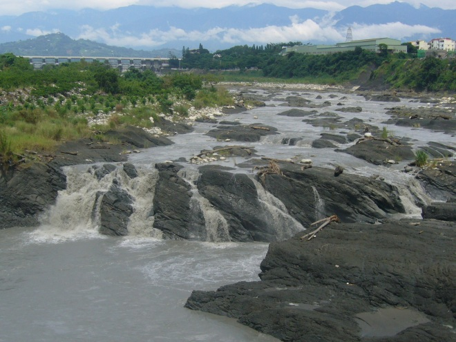 Seven meter-high Pifeng Waterfall, created by the earthquake