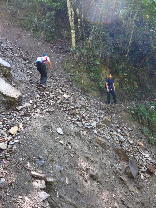 The trail between Cloud Dragon and Yinu Waterfalls has a few small landslide sections to get past, but they're not too bad, with a daypack at least!