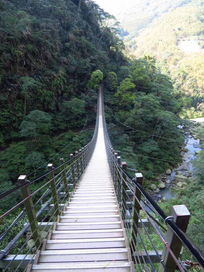The Heavenly Steps suspension bridge crosses the gorge well upstream from Taiji Canyon itself