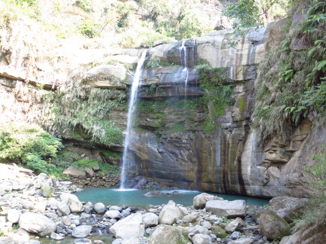 Blue Dragon Waterfall, one of the main landmarks of the Upper Gorge at Taiji Canyon, near the end of the Heavenly Steps path