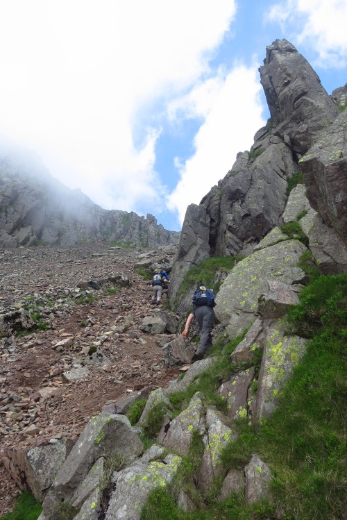 Scrambling up the screes of Great Gable
