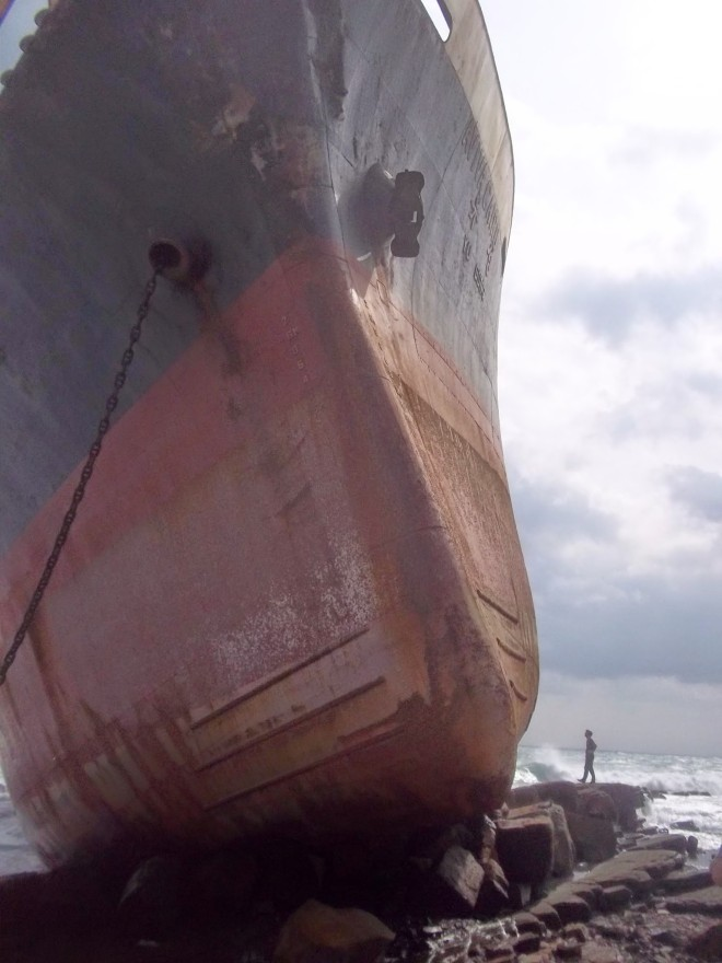 The newly wrecked ship