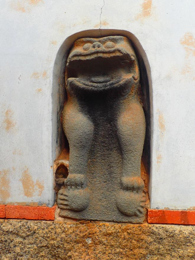 Wind Lion Statue embedded into the rear wall of the Cai Ancestral Shrine, Qionglin, Kinmen