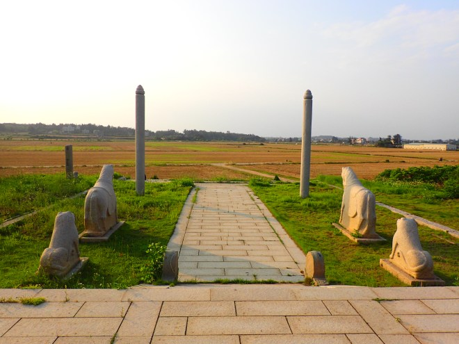 View from the Tomb of Huang Wei over the flat plains of northern Kinmen island