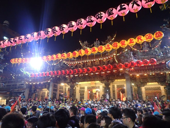 Jenn Lann Temple on the first night of the annual 7-8 day Dajia Mazu Pilgrimage, the largest and most famous of Taiwan's Mazu pilgrimages