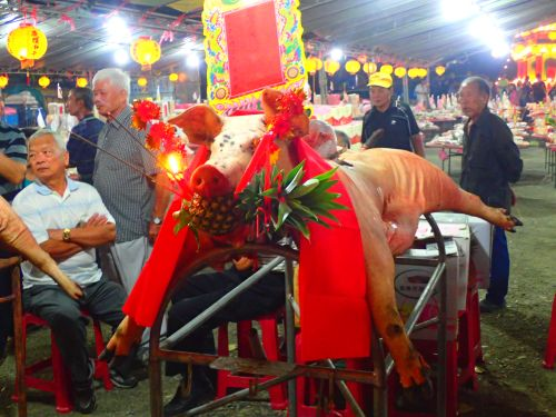 Offerings at the Grappling with the Ghosts Festival in Toucheng, Yilan County