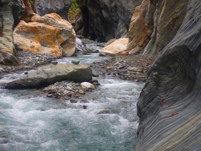 The beautiful marble canyon at Wenshan Hot Springs, Taroko Gorge